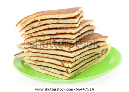 Pancakes on a plate isolated on white