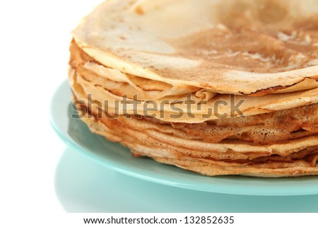 Pancakes on plate close-up