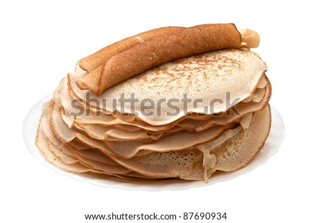 pancakes on the plate isolated on white background