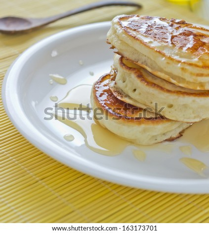 pancakes on the plate on the table