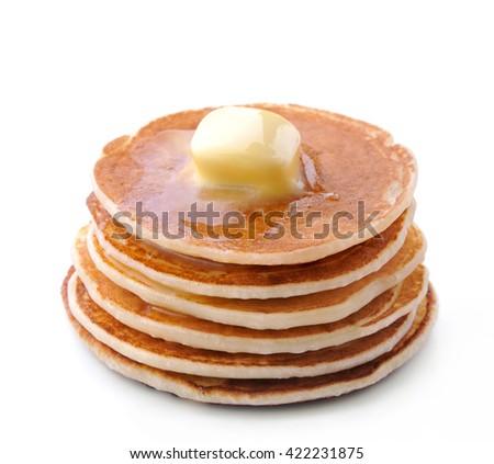 Pancakes on white background. - stock photo