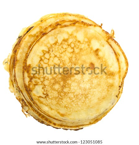 Pancakes stack isolated on white background - stock photo
