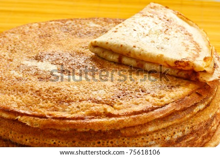 Pancakes stack on a plate