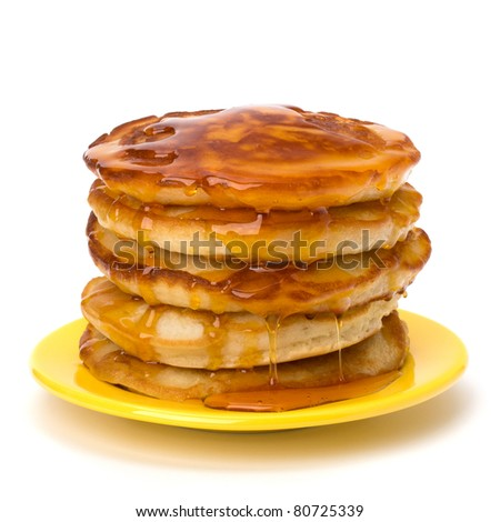 Pancakes  stack on white background - stock photo