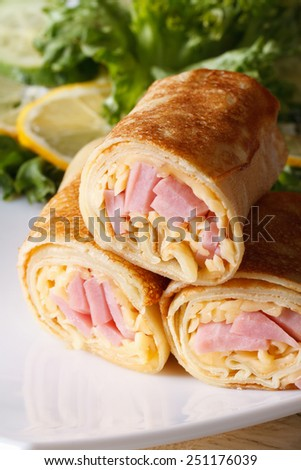 Pancakes stuffed with ham and cheese on a white plate. vertical macro  - stock photo