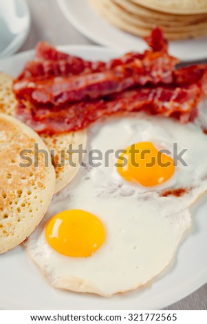 Pancakes with Bacon and Eggs