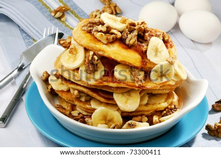 pancakes with banana - stock photo