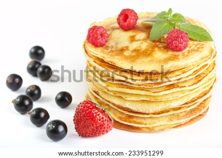 Pancakes with berry - stock photo