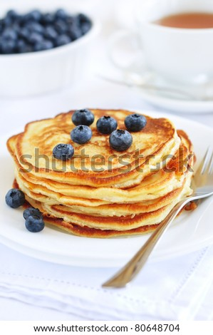 Pancakes with blueberry - stock photo