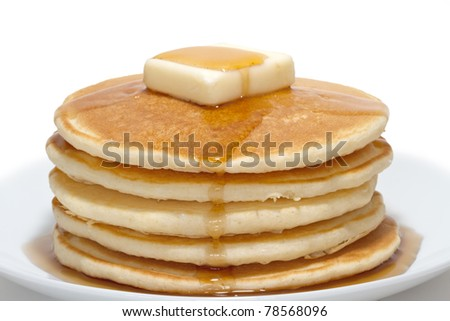 pancakes with butter and syrup - stock photo
