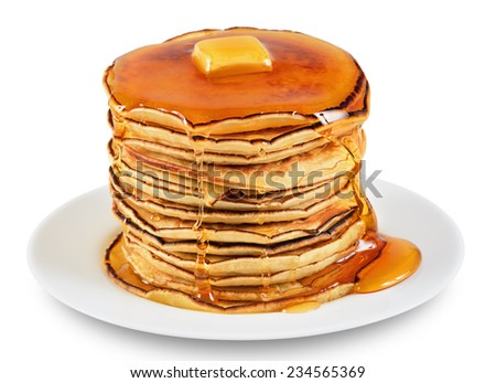 Pancakes with butter and syrup. Isolated on white background. - stock photo