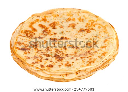 Pancakes with cheese and fennel.