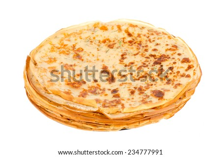 Pancakes with cheese and fennel -isolated