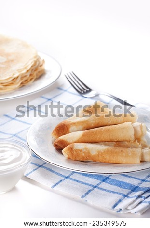 Pancakes with cherry jam and cherry