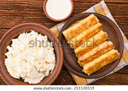 pancakes with cottage cheese - stock photo
