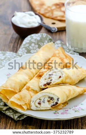 Pancakes with curd and raisins - stock photo