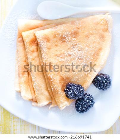 pancakes with jam - stock photo