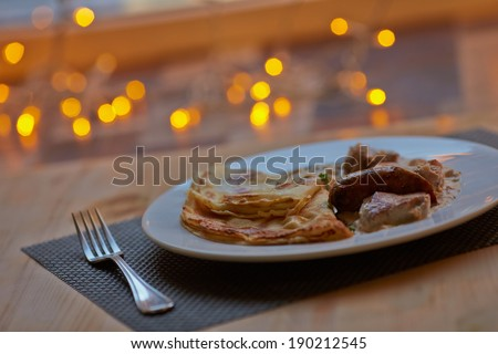 pancakes with meat