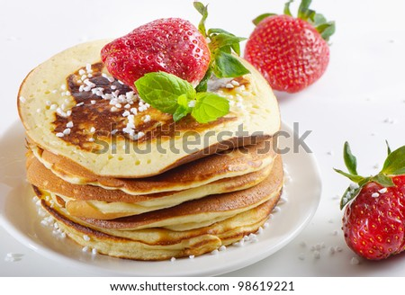 pancakes with strawberries - stock photo