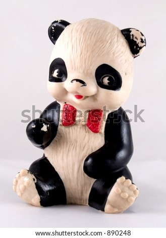 Panda bear old toy - stock photo