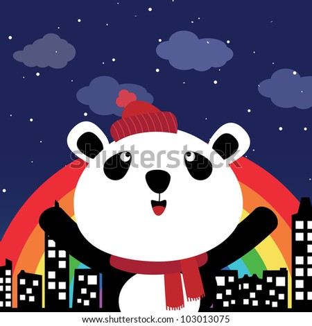 Panda in the city at night with rainbow - stock photo