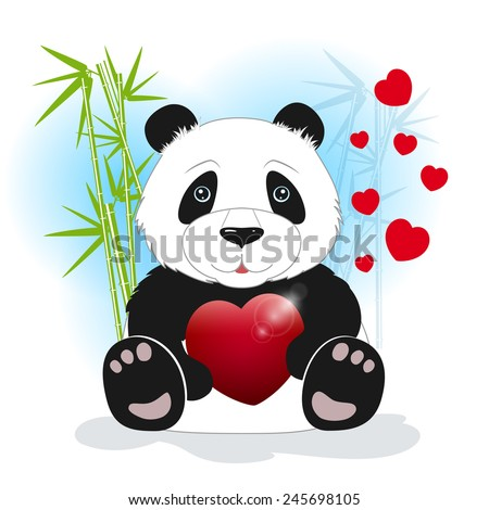 Panda sits among the bamboo and keeps the heart on a white background, behind bamboo stalks with hearts - stock photo