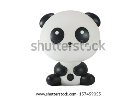 panda toy before white background - stock photo