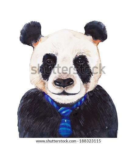 Panda, Watercolor painting. - stock photo