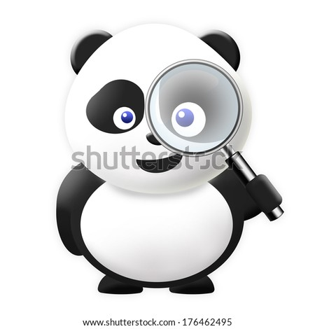 Panda with magnification glass