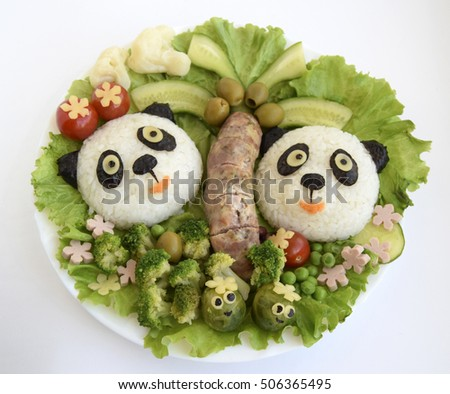 Pandas are made of rice. Creative food for good mood and appetite