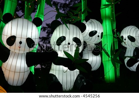 pandas at chinese lantern festival celebrating new years - stock photo