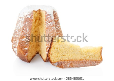 Pandoro, Christmas cake and slice with icing sugar isolated on white, clipping path included - stock photo