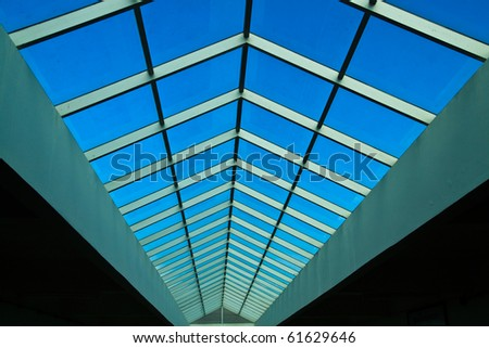 Pane of glass in building - stock photo