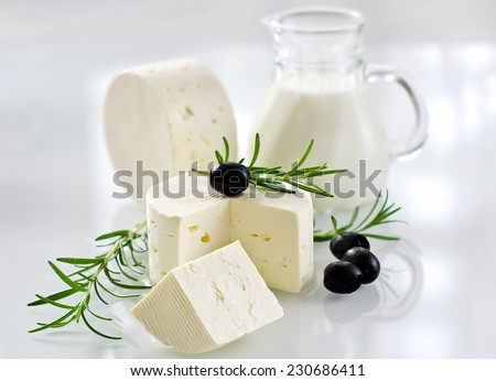Paneer cheese on white background horizontal selective focus - stock photo