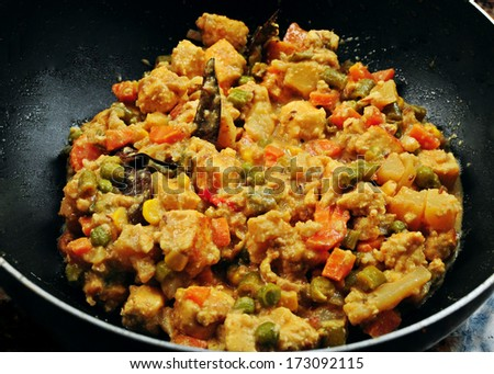 Paneer Navratan Kurma, a delicious Indian dish  - stock photo