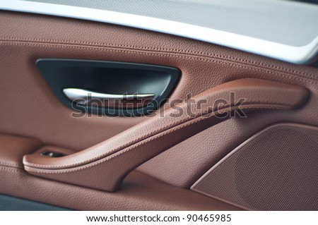 Panel doors are made with genuine leather - stock photo