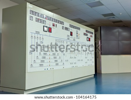 Panel in control room of a natural gas power plant - stock photo