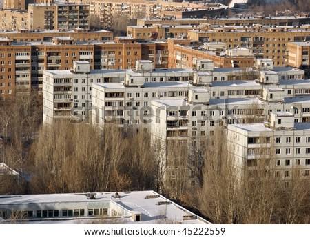 Panel model homes. Cityscape. - stock photo