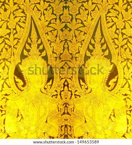 Panel Stripes Thai art into gold - stock photo