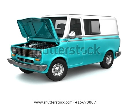 Panel van with a opened hood. 3d illustration. Isolated on white.