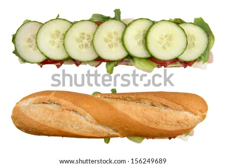 paneled French baguette separated into individual layers of preparation - stock photo