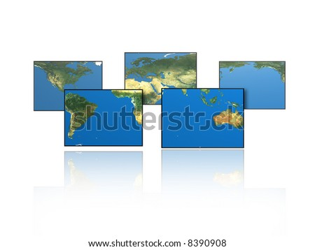 Paneled world map.