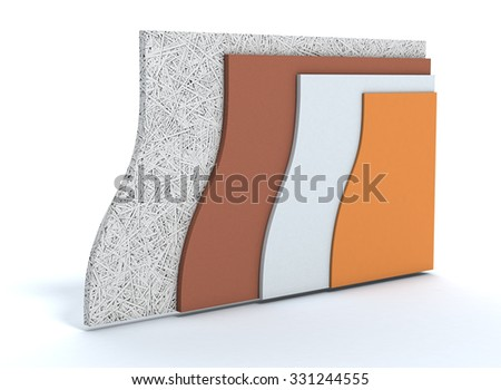 panels for thermal insulation of a wall, all layers visible (3d render) - stock photo