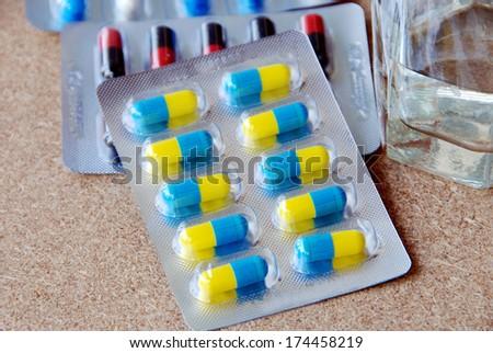 Panels of capsules. - stock photo
