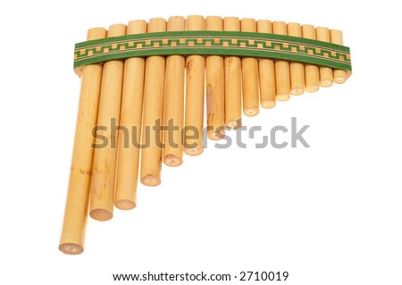 Panflute music instrument. - stock photo