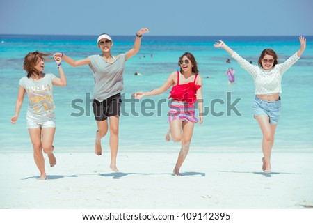 PANG-NGA THAILAND-2MAR,2015:Unidentified people in action on the beach at koh tachai,pang-nga thailand on 2 march 2015