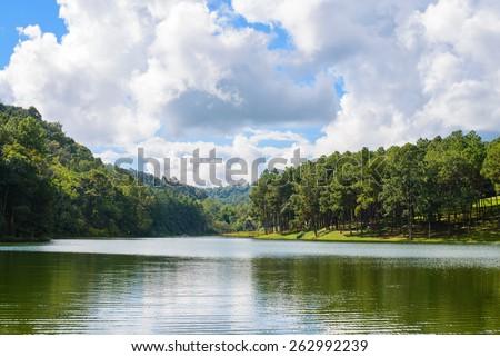 Pang-ung lake in Maehongson,Thailand. - stock photo