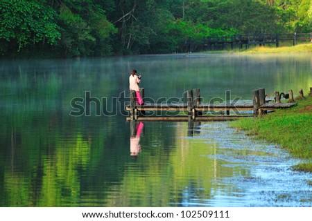 Pang-ung lake, Maehongson, North Thailand - stock photo