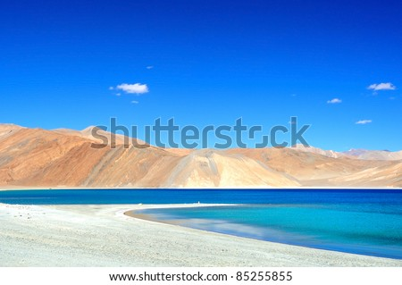 Pangong lake with clear blue sky - stock photo