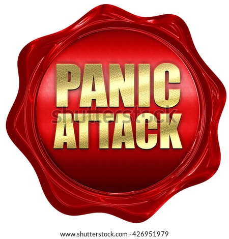 panic attack, 3D rendering, a red wax seal - stock photo